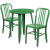 "Metal Indoor/Outdoor Cafe Table Set with Vertical Slat Chairs-24"" Round with 2 Chairs-Green"