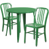 "Metal Indoor/Outdoor Cafe Table Set with Vertical Slat Chairs-30"" Round with 2 Chairs-Green"