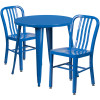 "Metal Indoor/Outdoor Cafe Table Set with Vertical Slat Chairs-30"" Round with 2 Chairs-Blue"
