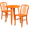 "Metal Indoor/Outdoor Cafe Table Set with Vertical Slat Chairs-24"" Round with 2 Chairs-Orange"