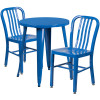 "Metal Indoor/Outdoor Cafe Table Set with Vertical Slat Chairs-24"" Round with 2 Chairs-Blue"