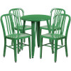 "Metal Indoor/Outdoor Cafe Table Set with Vertical Slat Chairs-24"" Round with 4 Chairs-Green"
