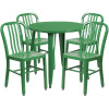 "Metal Indoor/Outdoor Cafe Table Set with Vertical Slat Chairs-30"" Round with 4 Chairs-Green"
