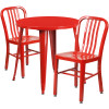 "Metal Indoor/Outdoor Cafe Table Set with Vertical Slat Chairs-30"" Round with 2 Chairs-Red"