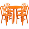 "Metal Indoor/Outdoor Cafe Table Set with Vertical Slat Chairs-30"" Round with 4 Chairs-Orange"