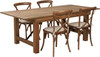 7 Ft Antique Rustic Farm Table Set with 4, 6, or 8 Cross Back Chairs and Cushions -4 Cross Back Chairs