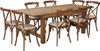 7 Ft Antique Rustic Farm Table Set with 4, 6, or 8 Cross Back Chairs and Cushions -8 Cross Back Chairs