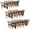 9 Ft Antique Rustic Farm Table Set with 8, 10, or 12 Cross Back Chairs and Cushions