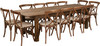 9 Ft Antique Rustic Farm Table Set with 8, 10, or 12 Cross Back Chairs and Cushions-12 Chairs