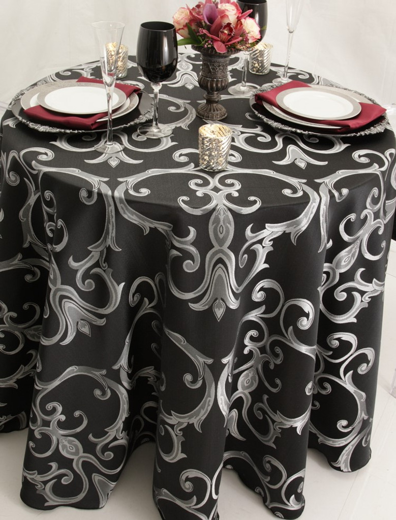 Chopin Damask Tablecloth Linen-Black Silver
