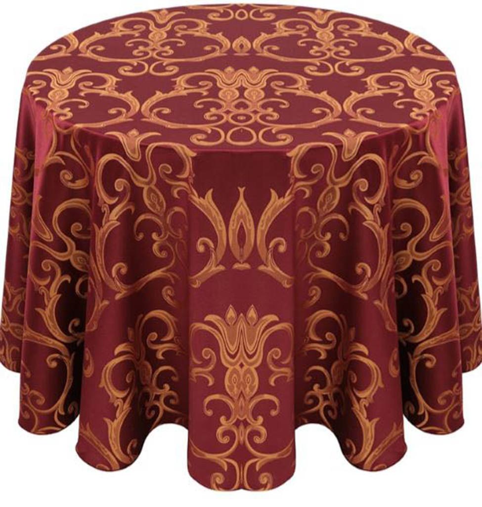 Chopin Damask Tablecloth Linen-Burgundy Gold