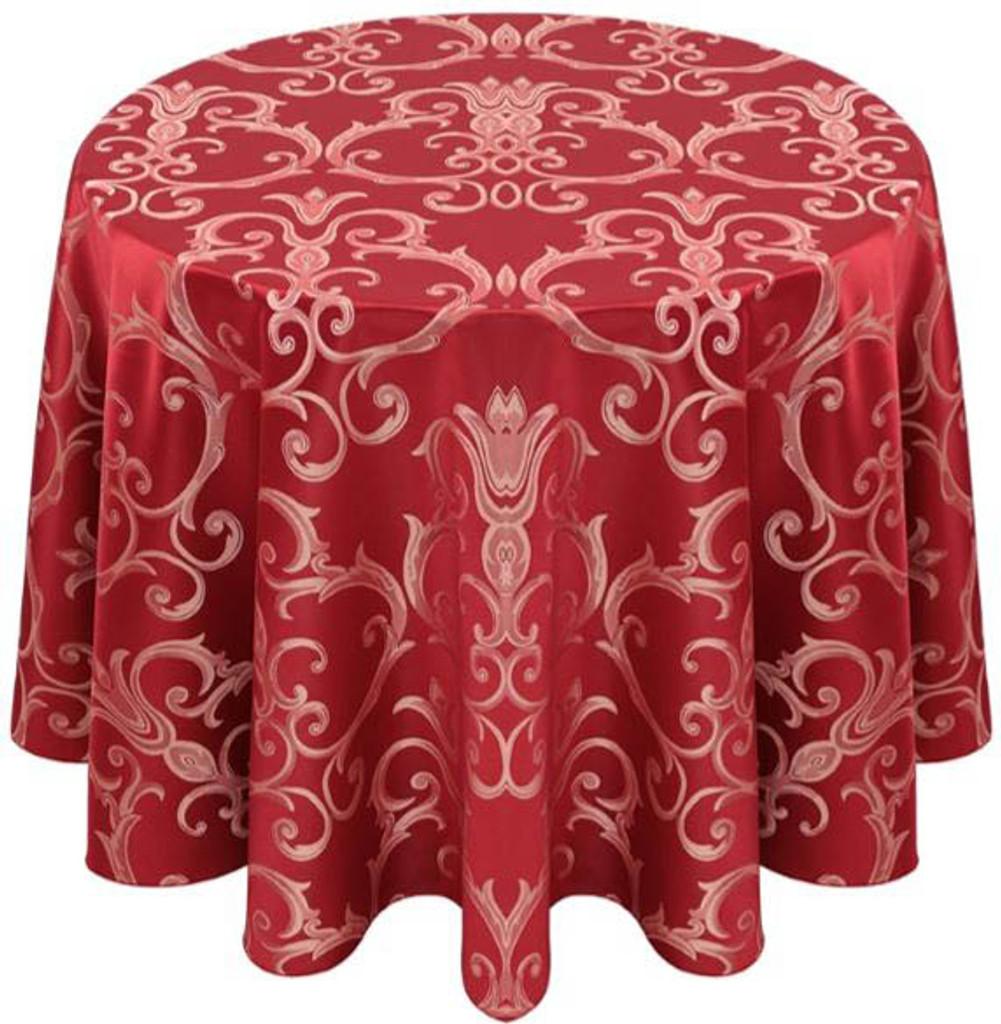 Chopin Damask Tablecloth Linen-Crimson