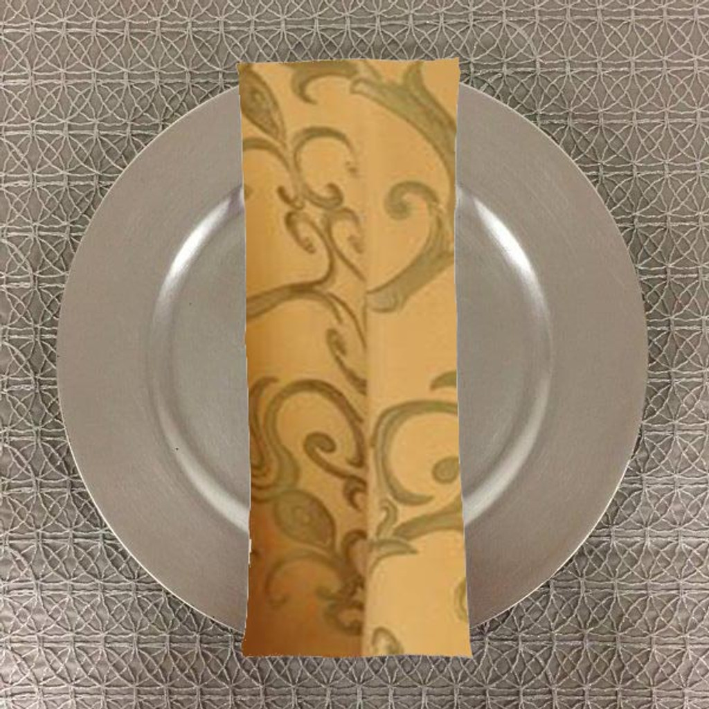 Dozen (12-pack) Chopin Damask Table Napkins-Gold Sage