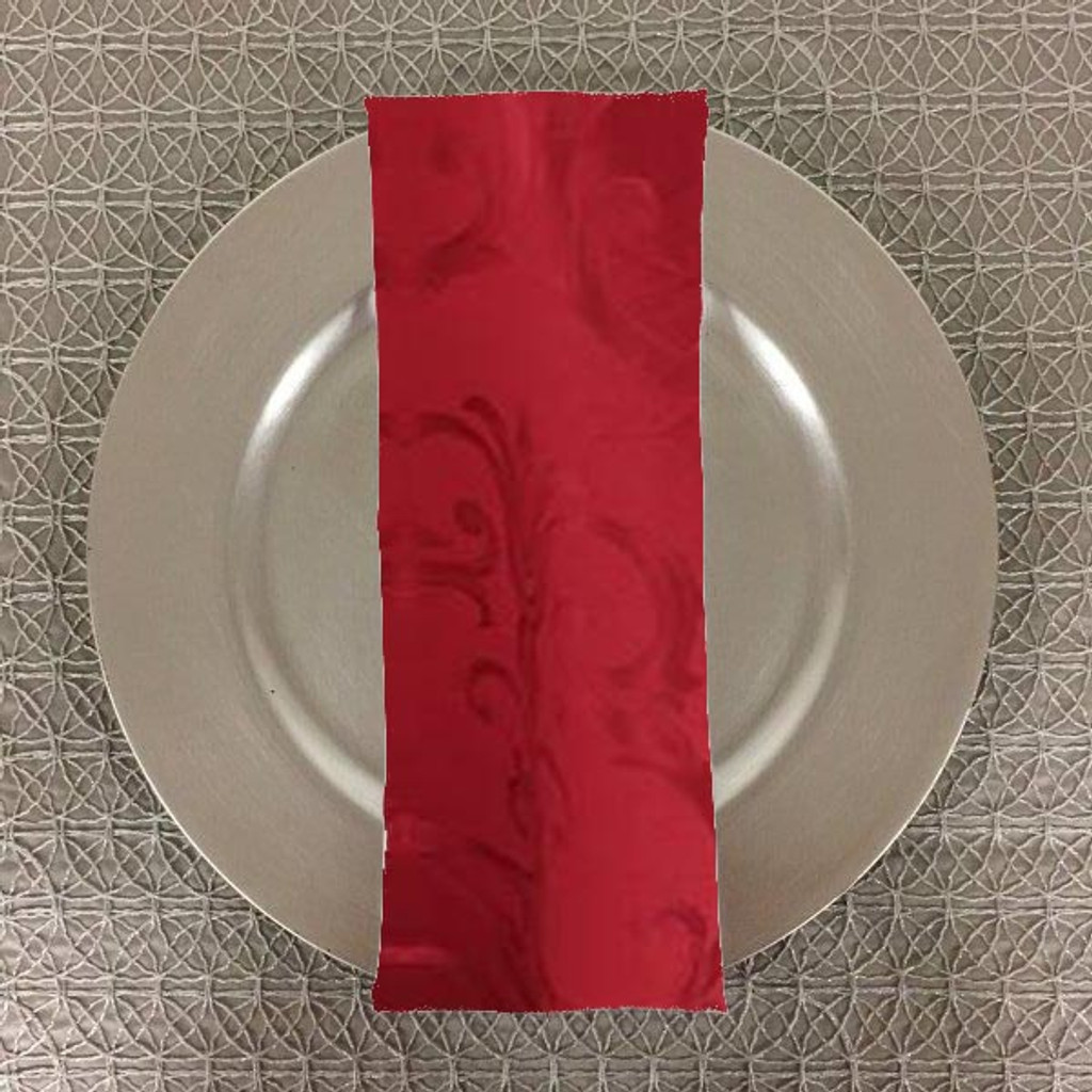 Dozen (12-pack) Chopin Damask Table Napkins-Red