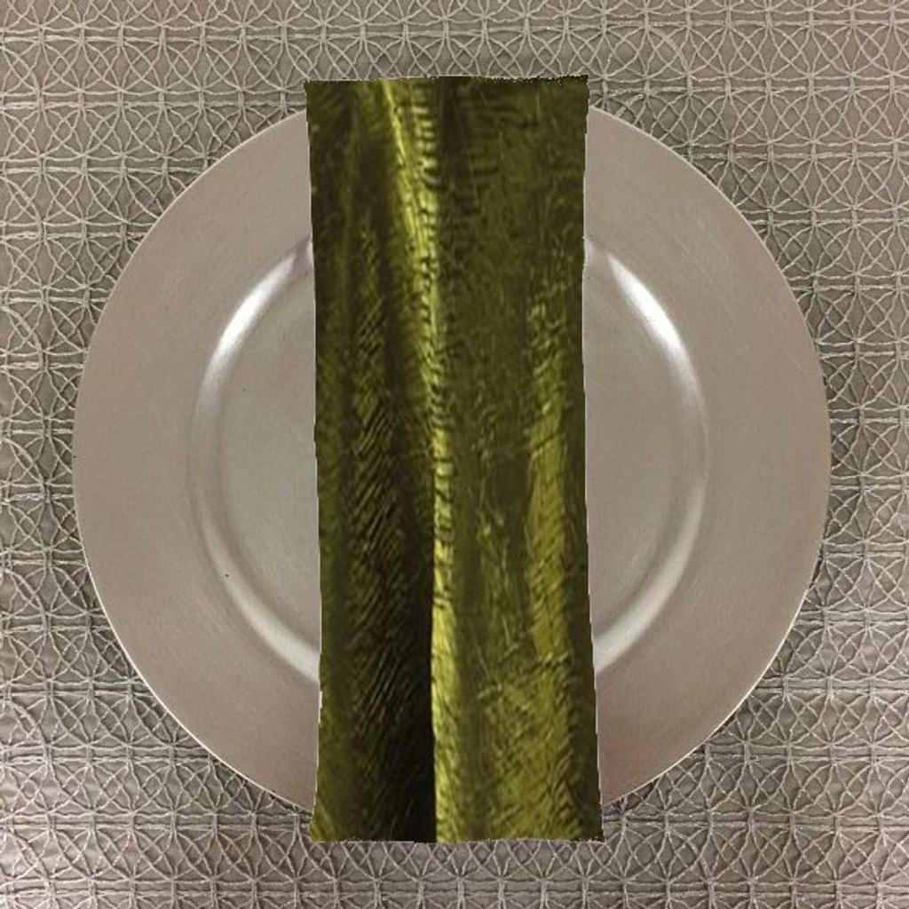 Dozen (12-pack) Shimmer Crush Fabric Table Napkins-Moss