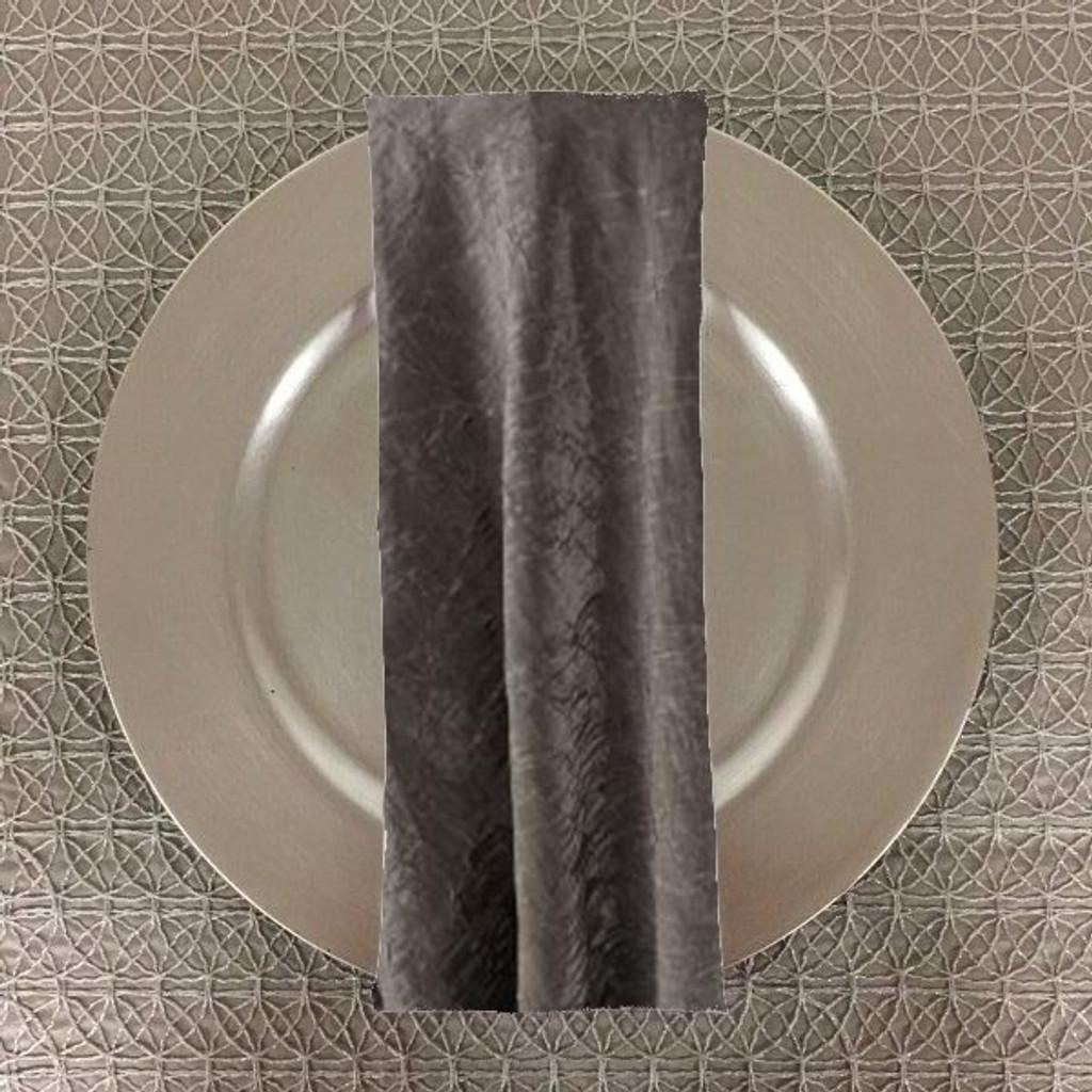Dozen (12-pack) Shimmer Crush Fabric Table Napkins-Silver Black