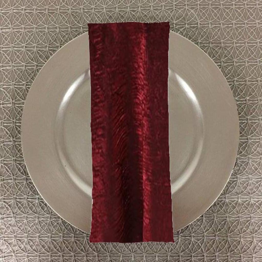 Dozen (12-pack) Shimmer Crush Fabric Table Napkins-Burgundy Black