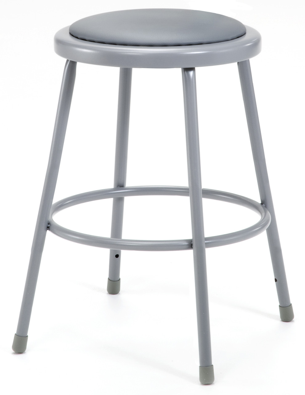 Gray Round Science Lab Stool With Padded Seat And Optional