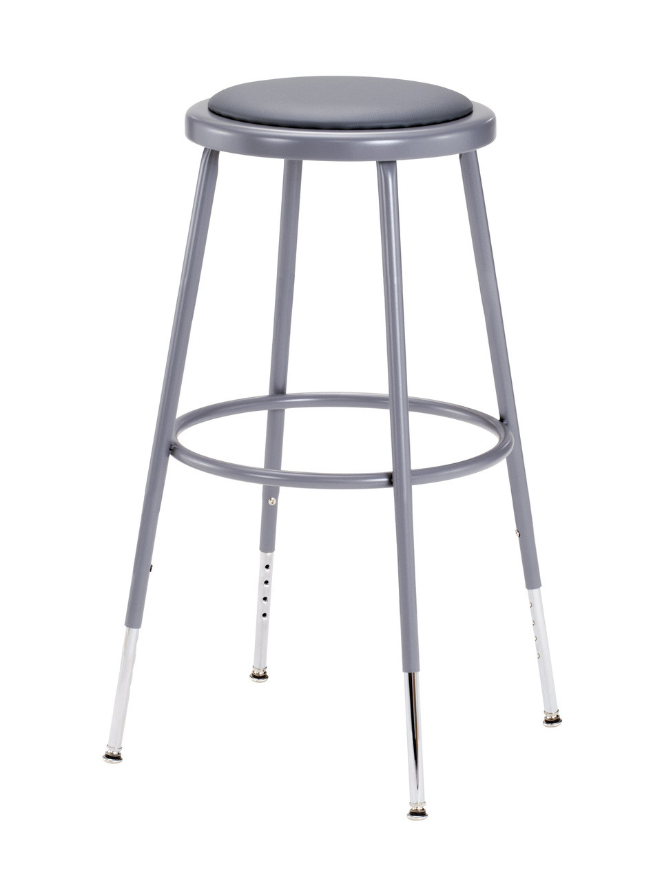 Gray Adjustable Round Science Lab Stool With Padded Seat