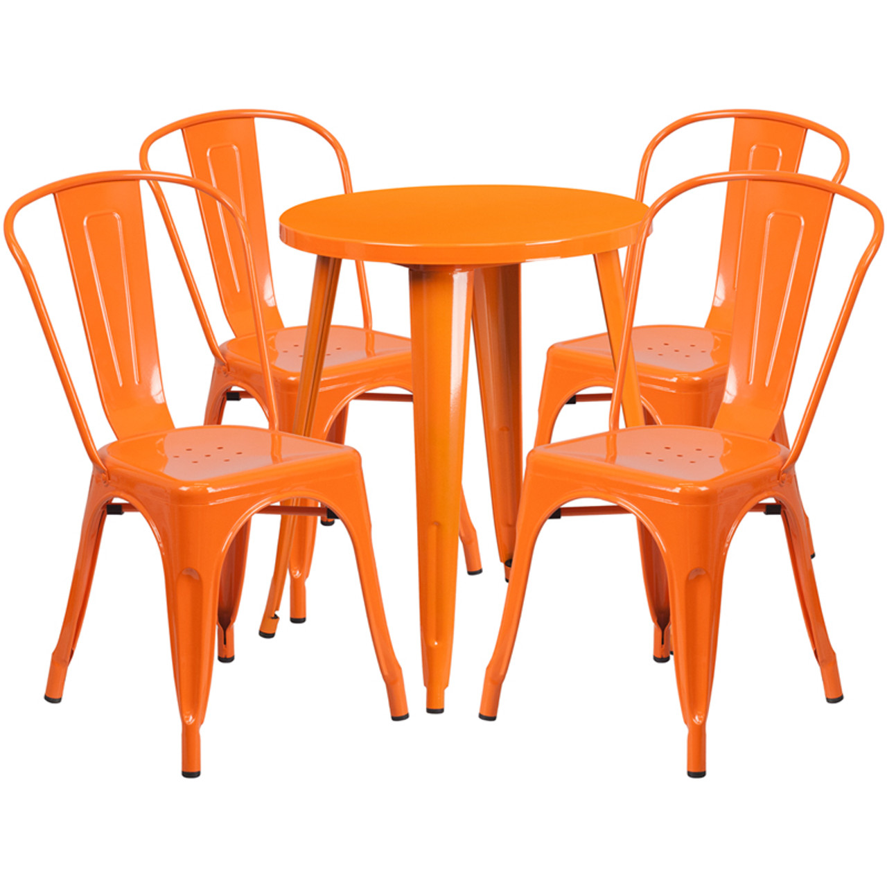 ... Indoor/Outdoor Cafe Metal 5 Piece set- 24  Round Table with 4 Stack ...  sc 1 st  FoldingChairsandTables.com & Indoor/Outdoor Cafe Metal 5 Piece set- 24