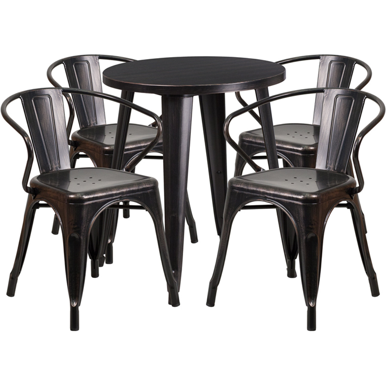 Indoor Outdoor Cafe Metal 5 Piece Set 24 Round Table With 4 Arm