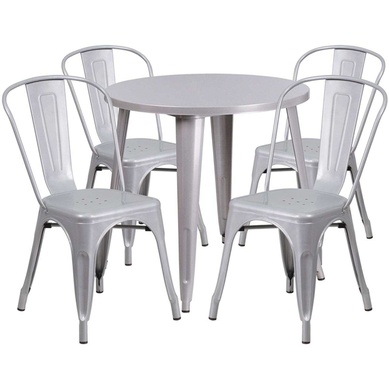 IndoorOutdoor Cafe Metal Piece Set Round Table With Tolix - Round metal cafe table