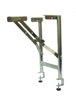 """15"""" Wide Replacement Steel Folding Bar Riser Legs With 1-1/2"""" Table Top Clamp - 2 Pack"""