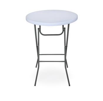 "Rhino-lite 32"" Round Plastic Folding HIGH Top Cocktail Table, 42"" Bar Height, Folding Steel Frame"