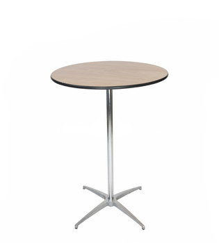 "Classic Series 30"" Round Plywood Cocktail Table, Vinyl Edging, 30""H & 42""H Poles Included"