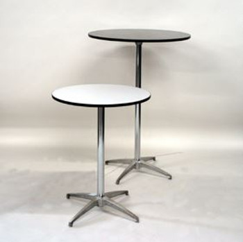 Maywood Round High Pressure Laminate Adjustable High Top Cocktail Table-USA MADE