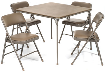 5pc XL Series Folding Card Table and Vinyl Padded Chair Set, Beige