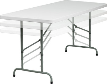 "Classic Series 30""x72"" (6 ft) Rectangle Plastic Folding Table, Adjustable Height 24""-36""H, Solid One Piece Top, Locking Steel Frame"