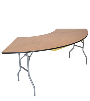 "Classic Series 30""x84"" (5 ft) Serpentine Wood Folding Table, Vinyl Edging, Bolt-Thru Top, Locking Steel Frame"