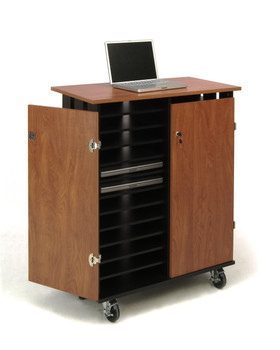24 Capacity Laptop Charging and Storage Cart By Oklahoma Sound (OK-LCSC)