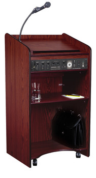 Wired Aristocrat Floor Lectern By Oklahoma Sound (OK-6010) Mahogany