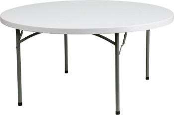 "Rhino-lite 71"" (6 ft) Round Plastic Folding Table, Solid One Piece Top, Locking Steel Frame"