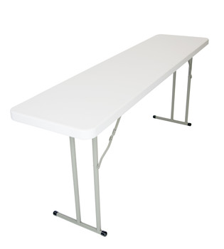 "Classic Series 18""x96"" (8 ft) Seminar Plastic Folding Table, Solid One Piece Top, Locking Steel Frame"