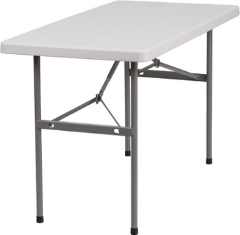"Classic Series 24""x48"" (4 ft) Plastic Folding Table, Solid One Piece Top, Locking Steel Frame"