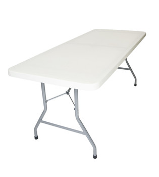 "Rhino-lite 30""x96"" (8 ft) Rectangle Plastic Folding Table, Solid One Piece Top, Locking Steel Frame"