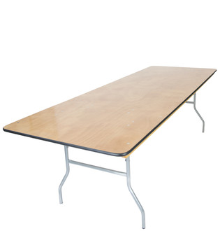 "Classic Series 30""x96"" (8 ft) Rectangle Wood Folding Table, Vinyl Edging, Bolt-Thru Top, Locking Steel Frame"