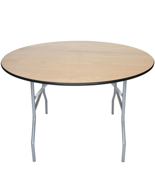 "Classic Series 48"" (4 ft) Round Wood Folding Table, Vinyl Edging, Bolt-Thru Top, Locking Steel Frame"