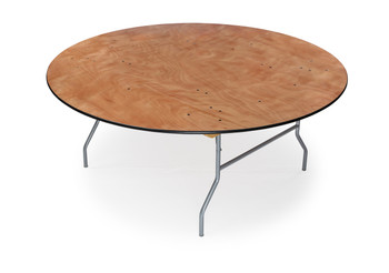 "Classic Series 66"" (5.5 ft) Round Wood Folding Table, Vinyl Edging, Bolt-Thru Top, Locking Steel Frame"