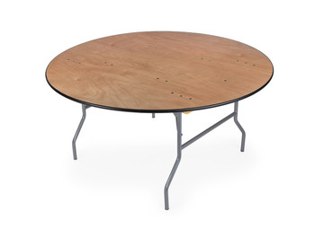 "Classic Series 72"" (6 ft) Round Wood Folding Table, Vinyl Edging, Bolt-Thru Top, Locking Steel Frame"