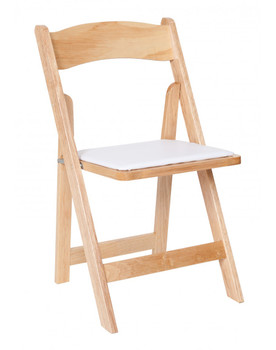 Premier Series Natural Wedding and Event Wood Folding Chair with White Seat Pad, Free Storage Bag