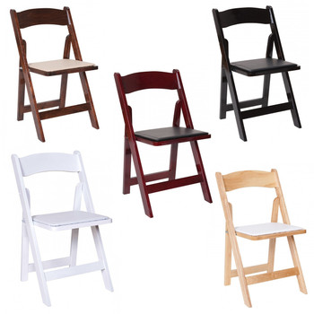 Premier Series Wedding and Event Wood Folding Chair with White Seat Pad, Free Storage Bag