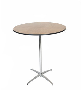 "Classic Series 36"" Round Wood Cocktail Table, Vinyl Edging, 30""H & 42""H Poles Included"
