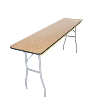 "Classic Series 18""x96"" (8 ft) Seminar Wood Folding Table, Vinyl Edging, Bolt-Thru Top, Locking Steel Frame"