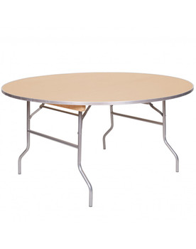 "Premier Series 60"" (5FT) Round Wood Banquet Folding Table With Metal Edge and 3/4"" Russian Birch Wood"