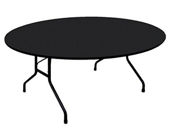 "Correll 3/4"" Thick Round High Pressure Laminate Folding Table (CL-CF-RND-PX) Black Granite"