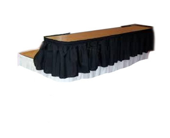 "15""H Shirred Polyester Bar Riser Skirting with Velcro Clips - Sold By the Foot"